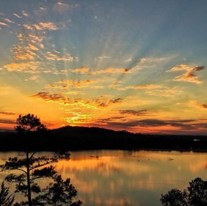 Sunset over the Arkansas River at Cadron Settlement Park (photo by Jerry Boyer)