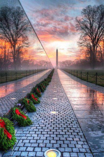 Vietnam Veterans Memorial at Sunrise  (Photo by Angela B. Pan)