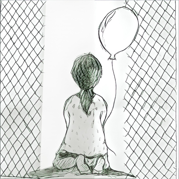 A child's drawing of being held in US immigrant detention centers while tring to hold on to an image of hope